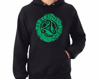 Unisex Hoodie Triskell press Green