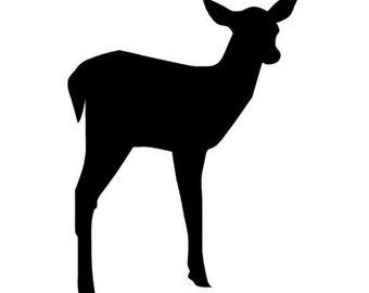 "Fawn Doe Deer - Vinyl Decal Sticker - 3.75"" x 5"" - 24 Colors - [#0286]"