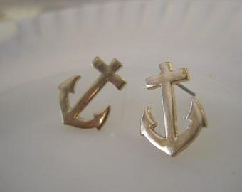 Gold Anchor Earrings - Stud Earrings - Solid Anchor Earrings - Beach Earrings - Beach Wedding - Nautical Jewelry