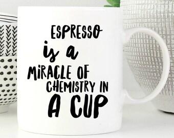 Espresso Coffee Mug, Espresso Is A Miracle, Coffee Mug, Espresso Mug, Espresso Cup, Ceramic Espresso Cup, Coffee Cup, Coffee Lovers Gift