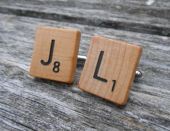 Game Tile Cufflinks, CHOOSE YOUR LETTERS. Wedding, Groomsmen Gift, Dad, Anniversary, Groom, Birthday, Christmas.
