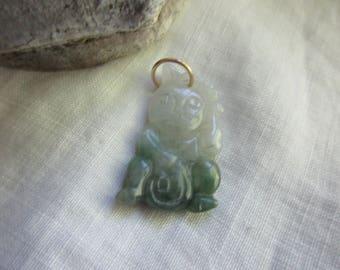 Vintage Jade Kutani Cat Pendant