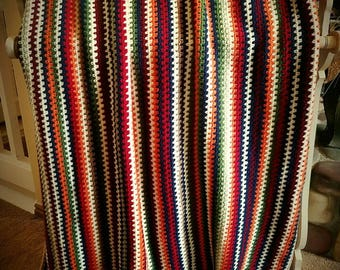 Outdoorsy Multi Colored Autumn Stripes Afghan Blanket Throw