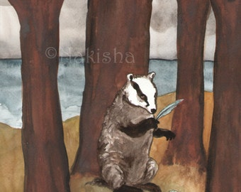 Original Art - The Four of Badgers - Watercolor Badger Painting -The Badgers Forest Tarot