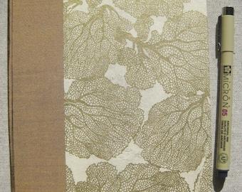 Large Lined Handbound Hardcover Journal Flowers Coral Lokta Gold