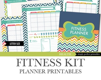 Fitness Planner - Weight Loss - Food Diary - Menu Planner - Workout Log - Printables Kit - Letter Size 8.5 x 11 inches PDF