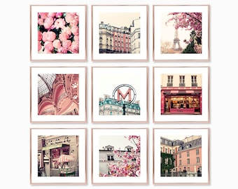 Paris photography, mothers day gift, gallery wall set, Paris wall art, Europe, travel, France, spring, cherry blossom art, peonies wall art