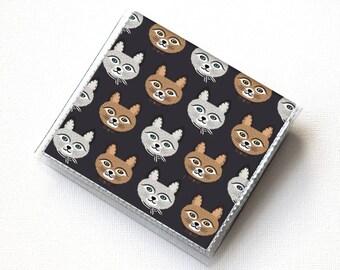 Vinyl-Moo-Platz-Kartenhalter - Big Meow / Vinyl, Snap, Mini-Karte Fall, Moo-Etui, klein, Quadrat, Geschenk, Katze, Kätzchen, Katzen-Dame, Retro, niedlich