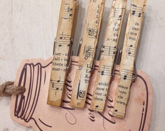 Clothepins Vintage Hynmal Sheet Trendy Clothespins Music Sheet Decorative Clips  Shabby Chic Memo Clips Organization Home Office Set of 4