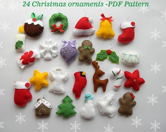 PDF pattern, 24 advent ornaments pattren, christmas ormaments , felt christmas ornament , easy sewing pattern,  hand sewing diy ornament