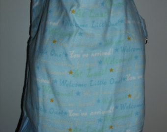 Handmade tote bag, diaper bag, baby boy, precious little one words  print,  Spring Cleaning sale was 15.00 Now 10.00