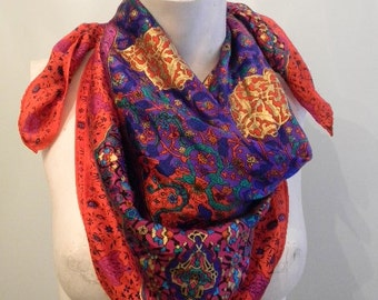 Vintage 70s Bohemian Silk Red Scarf