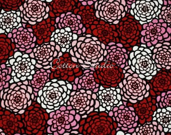 Japanese Fabric Chrysanthemum Red by the Half Yard Japanese Modern Kimono Print Floral