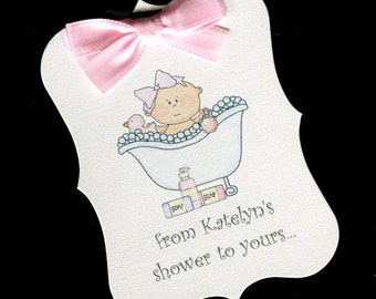 Personalized Baby Girl Shower Tags - From My Shower To Yours - Baby Girl Soap Tags - Baby Girl - Baby Shower Favor Tags - 60
