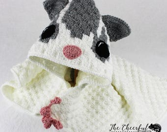 Handmade - Toddler Hooded Blanket - Sugar Glider Hooded Blanket - Mosaic Glider Blanket - Crochet Sugar Glider - Crochet Baby Blanket