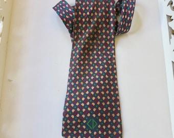 Vintage Christian Dior Monsieur silk tie, Made in France, Monogram tie, CD silk tie, neckwear, circles blue green red buff, fat tie, 318/30