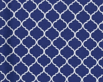 Mini Quatrefoil Fabric White on Royal Blue 100% Cotton