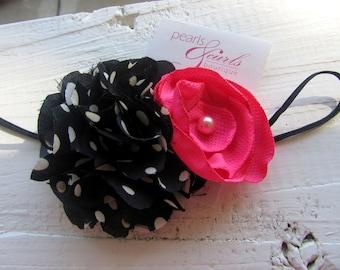Pink and Black Flower Headband / Hot Pink, Black and White Polka Dot Flower Headband / Hot Pink Flower Headband / Polka Dot Flower Headband