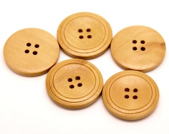 Natural Wood Buttons 30mm - set of 3 natural sewing wood button