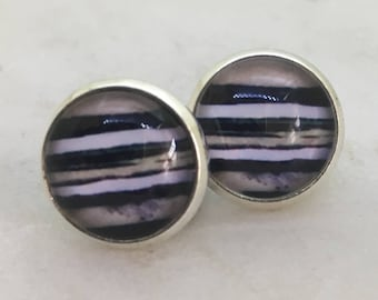 Striped glass dome stud earrings. 14mm with surgical steel and nickel free posts