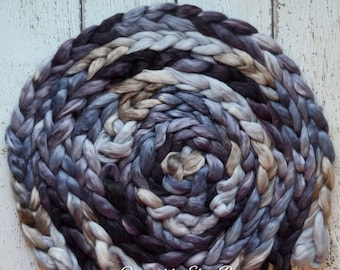 Suri Alpaca 'Winter's Eve' 4 oz grey spinning fiber, Created by Elsie B black combed top, roving for spinning, hand dyed fiber by the pound