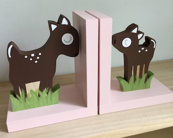 Deer Bookends, Light Pink, Fawn and Mother Deer, Girl Woodland Decor, Girl Forest Themed Decor, Kids Bookends, Nursery Decor, eco friendly
