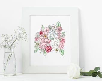 Floral Bouquet Print - Watercolor Art Print 8x10 or 5x7
