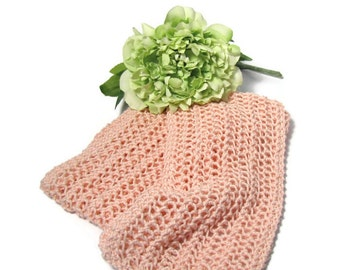 SALE Peachy Pink Scarf, Knit Scarf, Hand Knit Scarf, Lacy Scarf, Fiber Art, Gift for Her, Women Scarf, Fashion Scarf