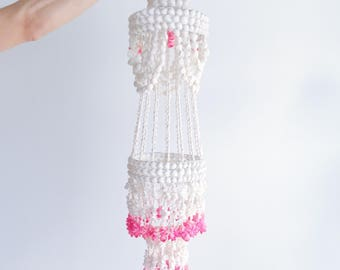 Pink and White Boho Shell Chandelier