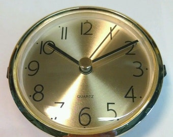 """Clock Fit Up or insert with brushed brass face, BEAUTIFUL, 3 1/8"""", NEW, x80G"""