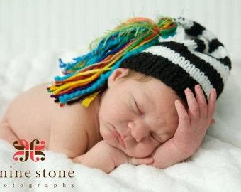 NeWBoRN KNiT BoY HaT Baby Photo Prop Stocking Cap BiG RAiNBoW TaSSEL Black White Stripe Cap Coming Home Beanie PiCK CoLOR Chuckles Toque