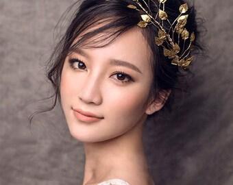 gold leaf head piece, gold leaf headpiece, gold leaf hair piece, Grecian headpiece, Grecian hairpiece Grecian head piece, grecian hair piece