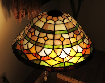 Vintage Stained Glass Lamp Shade-Decorative Accessory Handmade Stained Glass Lamp Shade -Vintage Stained Glass Ceiling Fan or Light Shade