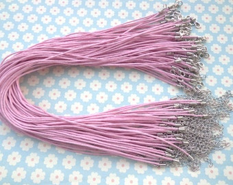 50pcs 17'' Pink  Waxed Cotton Cord Necklace With Lobster Clasp&5cm Extension Chain size 1.5mm