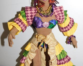SALE Handcrafted Mardi Gras Art cloth Doll 19 Inches Tall Creole Cajun