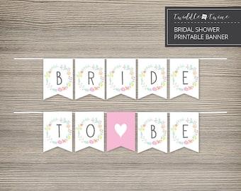 Bridal Shower Printable Banner - Floral Frame - DIY - FF01