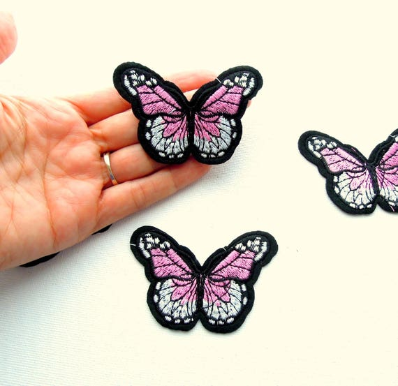 Iron on patch pink white butterfly - Butterfly iron on applique - Butterfly patch - Pink butterfly garment patch - Pink patches