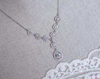 Bridal Necklace, Cubic Zirconia Bridal Necklace, Bridal Jewelry, Wedding Jewelry, Cubic Zirconia Bridal Jewelry,