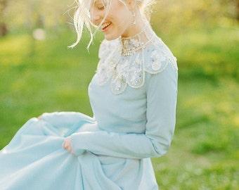 Lorem / Blue wedding dress with sleeves wedding dress Long sleeves bridesmaid dress boho wedding dress blue wedding Bohemian wedding dress