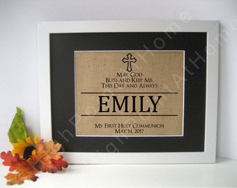 First Communion- Personalized Burlap Sign - Burlap First Holy Communion Print - Burlap First Communion Gift- Custom Sign-  Confirmation Gift