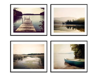 Lake House Decor set of 4 prints, lake decor, dock photo, lake picture, lake life, canoe print, rustic cabin decor, home decor print set,
