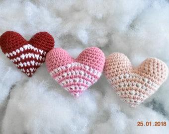 Crocheted Amigurumi Hearts