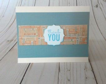 Teacher Appreciation, Thank You Card, Teacher Card, Handmade Greeting, Paper Greeting Card, Blank Thank You, Note Card