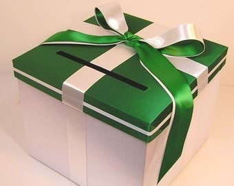 Wedding Card Box Emerald Green and White Gift Card Box Money Box Holder--Customize your color (10x10x9)