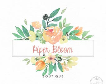 Floral Premade Logo Rustic Flowers Peonies Peach Watercolor Modern Boutique Photography Custom Shop Logo Business Card Branding Design LD390