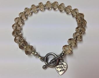 Handmade Slight Yellow / Clear Faceted Rondelle Beaded Bracelet