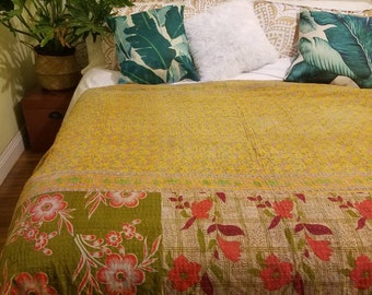 Kantha quilt, Kantha throw, Vintage Kantha, vintage quilt, Vintage throw, Vintage Kantha quilt, Vintage blanket, Kantha blanket, Boho decor