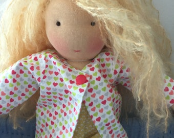 40 cm waldorf style doll, handmade with eco-friendly material, unique piece