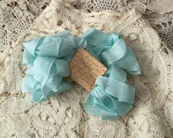 Seam binding ribbon 4 metres Turquoise ribbon rayon seam binding ribbon by olive grove primitives