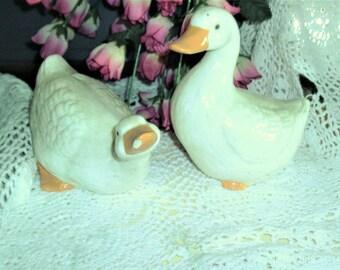 Pair Goose White Glazed Porclain